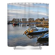 Bowling Harbour Panorama 01 Shower Curtain