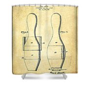 Bowling Pin Patent Drawing From 1938 - Vintage Shower Curtain