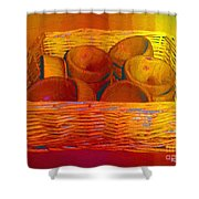 Bowls In Basket Moderne Shower Curtain
