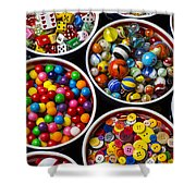 Bowls Of Buttons And Marbles Shower Curtain