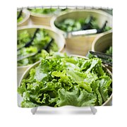 Bowls Of Salad Keaves Shower Curtain