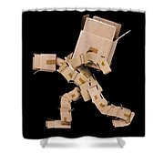 Box Character Carrying Large Box Shower Curtain