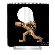 Box Character Carrying Light Bulb Shower Curtain