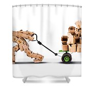 Box Character Moving Boxes On Trolley Shower Curtain