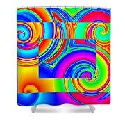Boxed Rainbow Swirls 1 Shower Curtain