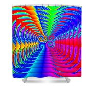 Boxed Rainbow Swirls 2 Shower Curtain