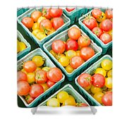 Boxes Of Cherry Tomatoes On Display Shower Curtain