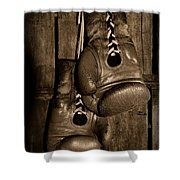 Boxing Gloves  Black And White Shower Curtain by Paul Ward