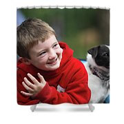 Boy, Age 6, Smiling With Jack Russell Shower Curtain