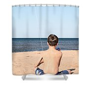 Boy At The Beach Flying A Kite Shower Curtain by Edward Fielding