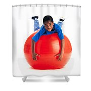 Boy Balancing On Exercise Ball Shower Curtain by Ron Nickel