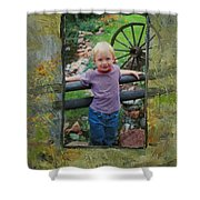 Boy By Fence Shower Curtain