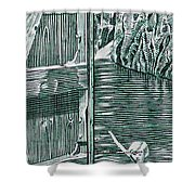 Boy In Canoo In Canal Shower Curtain