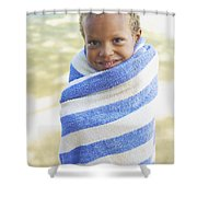 Boy In Towel Shower Curtain
