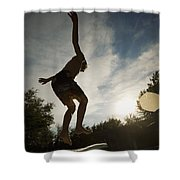 Boy Jumping Off Diving Board Shower Curtain