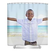 Boy On Beach Shower Curtain by Kicka Witte