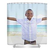 Boy On Beach Shower Curtain