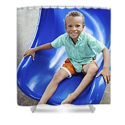 Boy On Slide Shower Curtain by Kicka Witte