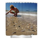 Boy Picking Seashells On The East Coast Shower Curtain