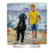 Boy Playing With The Dog Shower Curtain