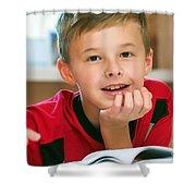 Boy Reading Book Portrait Shower Curtain