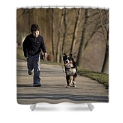 Boy Running With Dog Shower Curtain