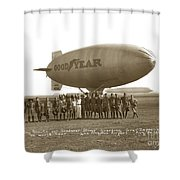Boy Scouts And Goodyear Blimp Guarding Graf Zeppelin Los Angeles Airport Aug. 26 1929 Shower Curtain