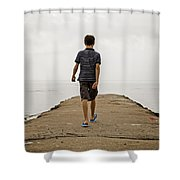 Boy Walking On Concrete Beach Pier Shower Curtain
