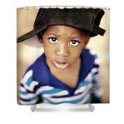 Boy Wearing Over Sized Hat Sideways Shower Curtain by Ron Nickel