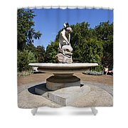 Boy With Dolphin Statue In Hyde Park London England Shower Curtain by Robert Preston