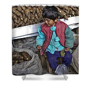 Boy With Grapes - Cusco Market Shower Curtain