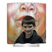 Boy With His Portrait Shower Curtain