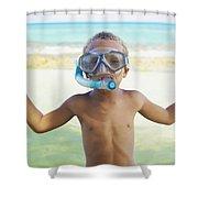 Boy With Snorkel Shower Curtain