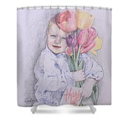 Boy With Tulips Shower Curtain by Kathy Weidner