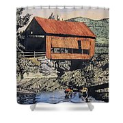 Boys And Covered Bridge Shower Curtain