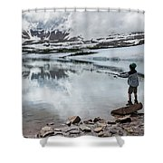Boys Fish In Superior Lake During A Six Shower Curtain