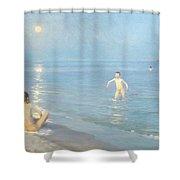 Boys On The Seashore In A Summer Night At Skagen 1899  Shower Curtain by Peder Severin Kroyer
