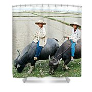 Boys On Water Buffalo In Countryside-vietnam Shower Curtain