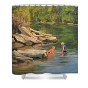 Boys Playing In The Creek Shower Curtain