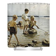 Boys Playing On The Shore Shower Curtain