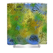 Boyz Only Abstract Shower Curtain