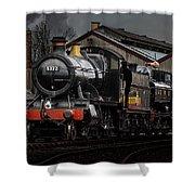 Br Steam Train And Gwr Pannier Tank Shower Curtain
