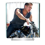 Actor - Brad Pitt On His Harley Shower Curtain