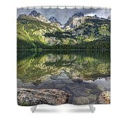 Bradley Lake Reflection - Grand Teton National Park Shower Curtain