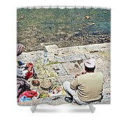 Brahmans Along Bagmati River In Pasupatinath Temple Of Cremation Complex In Kathmandu-nepal  Shower Curtain