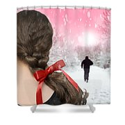 Braided Hair With Red Ribbon Shower Curtain