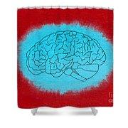 Brain Blue Shower Curtain