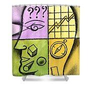 Brainstorming Shower Curtain by Leon Zernitsky