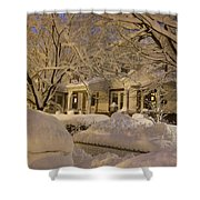 Branches And Snow Mounds Shower Curtain