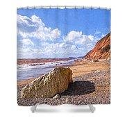 Branscombe Beach - Impressions Shower Curtain